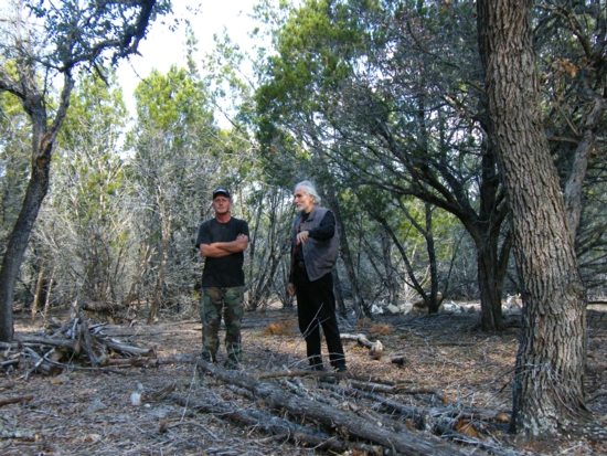 Bob Taylor and Peter Bonenberger in Hunt Texas - restoration of abused land, to keep Earth beautiful, to restore the beauty of Texas Hill Country creeks and rivers