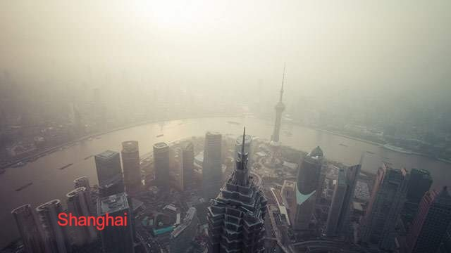 Shanghai China air pollution. Cities all over Earth are growing, Nature is shrinking, areas for food planting are shrinking, life is changing