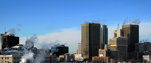 Downtown of Winnipeg, MB, the largest city and capital of Manitoba, Canada - many citizens try to keep Winnipeg beautiful