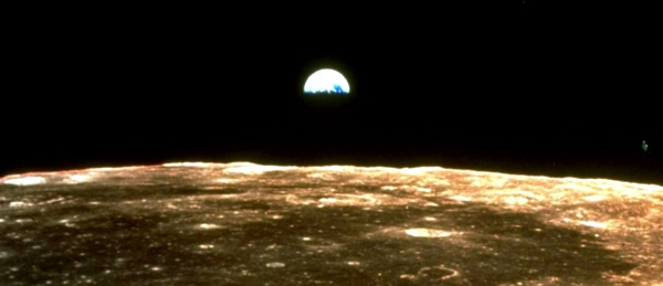 earth seen from moon on NASA Apollo mission 1969