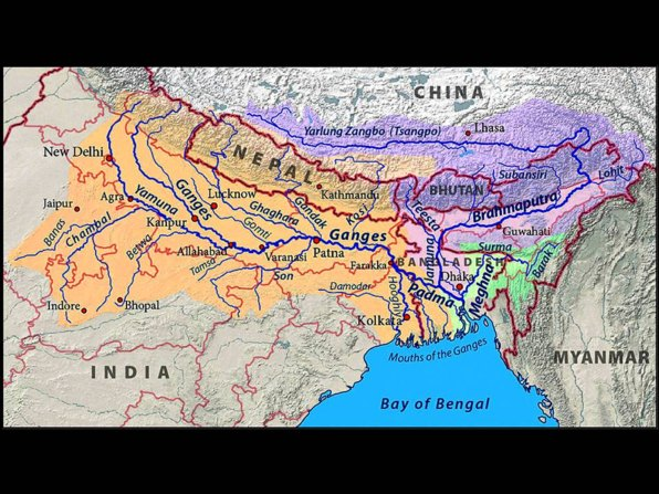 map of northern India with the Ganges river also called Ganga