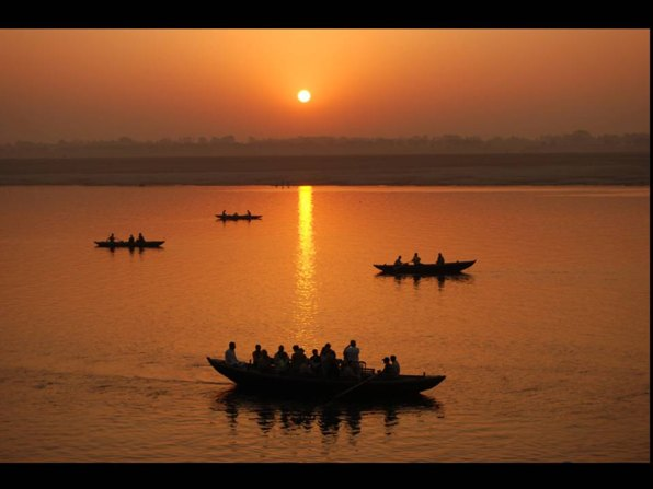fisher boats on the Ganges in India