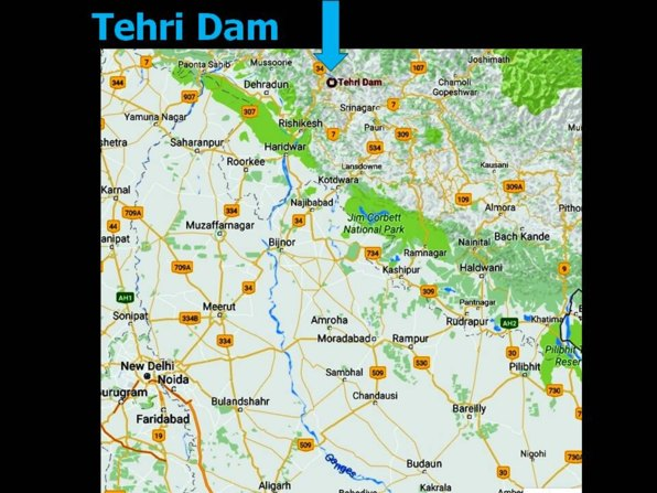 map of tributary river and the Tehri dam, Northern India