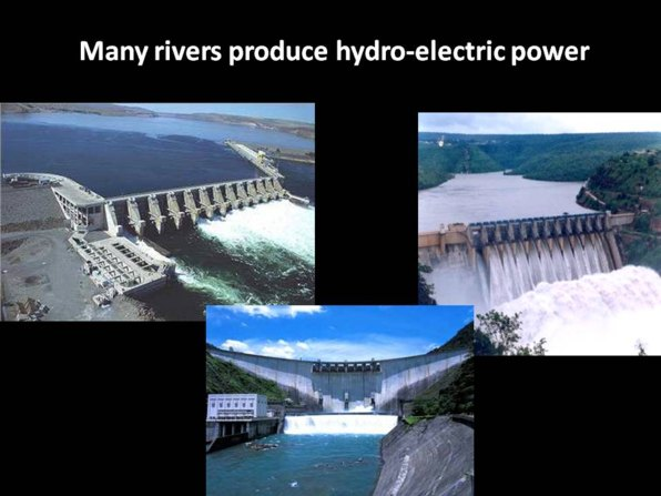 Water produces electricity at many rivers in India