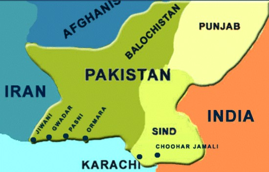 map of Pakistan and surrounding countries